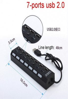 7 Port USB Hub 2.0 with High Speed Adapter