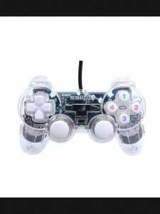 Wired PC Game Dual-shock Joystick Controller – White + Transparent