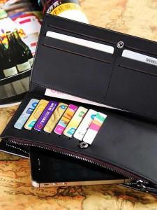 BOGESI Long Black Genuine Leather Wallet