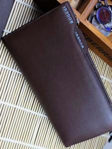 BOGESI Long Brown Genuine Leather Wallet