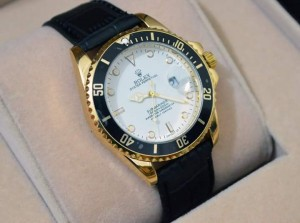 Rolex Bazel with Black Leather Strap