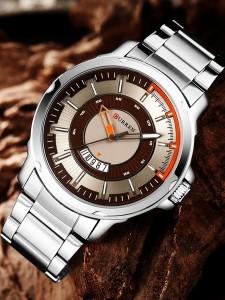 Genuine sports Analog Display Date  Quartz Watch Silver Chain