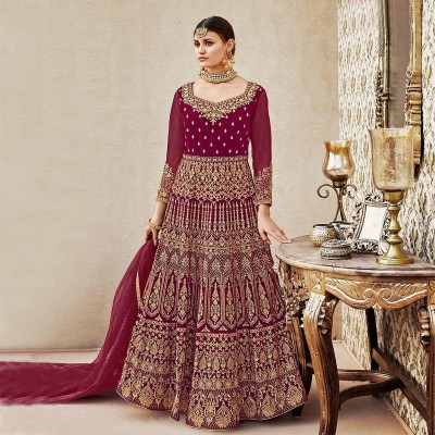 Un-stitched Maroon Velvet Long Anarkali Suit Nc-10121