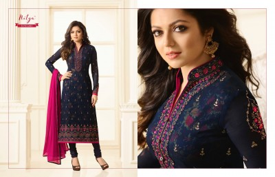 Navy Blue Georgette Embroidery salwar kameez nitya d-no-2401
