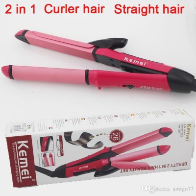 Kemei KM-1055 2 In 1 Dual Roll Hair Straightener-C: 0256.