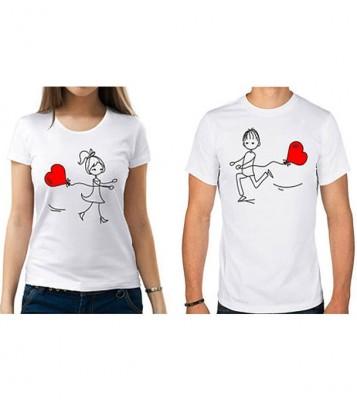 Valentine Heart Couple T-Shirt By Aurthi Fashion AF 0087