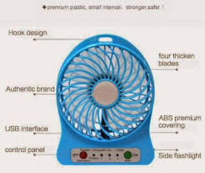 Portable Mini  Fan USB 3-mode Lithium Battery Rechargeable Fan