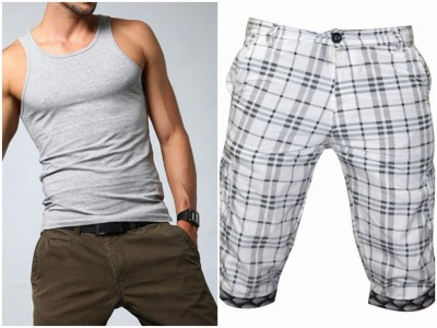 Men Combo Lakbuas Branded half pant & Sleeve Less T-shirt GPH113