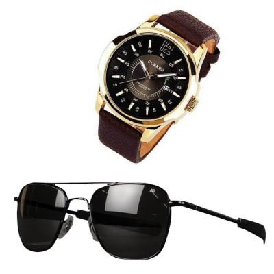 Curren  Branded Wrist watch & AO sunglass For Man Combo Pack 2  pcs MWW-054