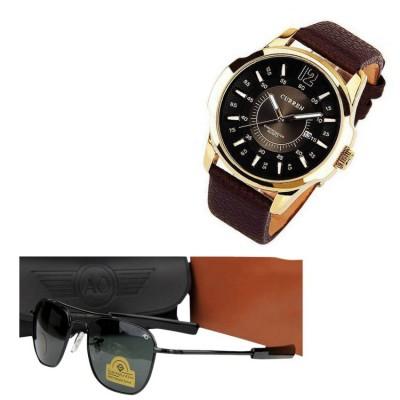 Curren  Branded Wrist watch AO sunglass For Man Combo Pack 2  pcs MWW-056