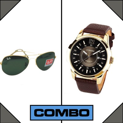 Curren  Branded Wrist watch AO sunglass For Man Combo Pack 2 pcs MWW-059